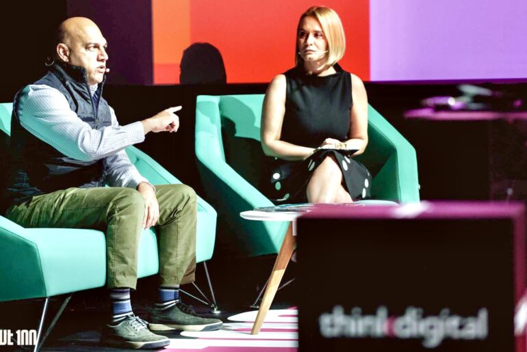 Salim Ismail (Singularity University) and Andreea Esca (ProTV) at UPGRADE 100 Festival, 2019